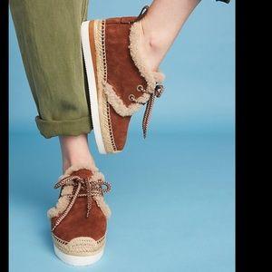 See By Chloe Shearling Espadrille Sneakers